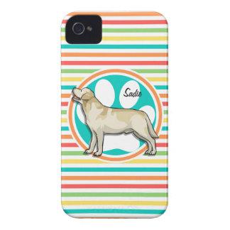 Golden Retriever Bright Rainbow Stripes Case-Mate iPhone 4 Cases