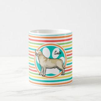 Golden Retriever Bright Rainbow Stripes Mug