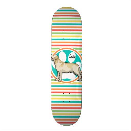Golden Retriever; Bright Rainbow Stripes Skateboards
