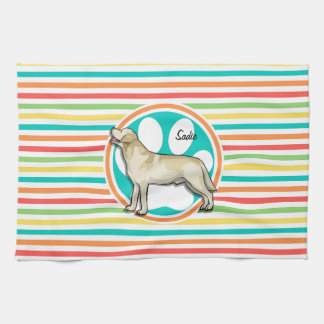 Golden Retriever Bright Rainbow Stripes Towels