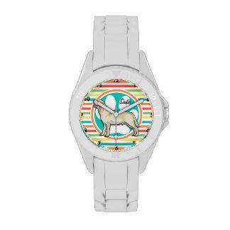 Golden Retriever Bright Rainbow Stripes Wrist Watch