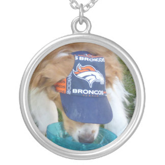 Golden Retriever Broncos Hat Necklace
