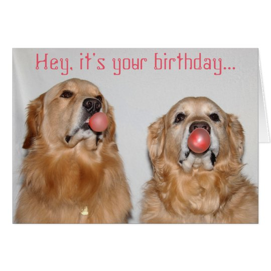 Golden Retriever Bubblegum Birthday Card