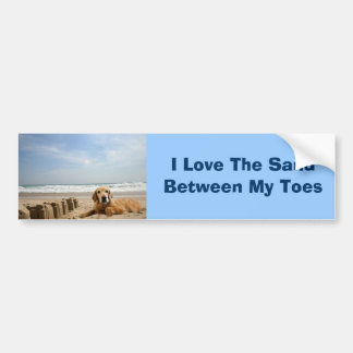 Golden Retriever Bumper Sticker Sandcastles