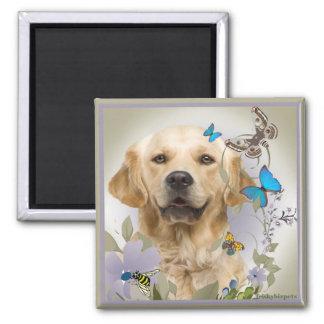 Golden Retriever Butterflies & Wild Flowers Square Magnet