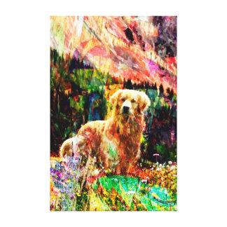 Golden Retriever canvas abstract