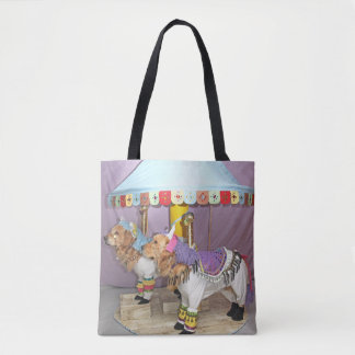 Golden Retriever Carousel Horses Tote Bag