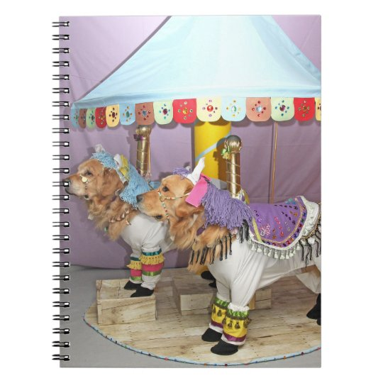 Golden Retriever Carousel Spiral Notebook
