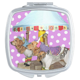 Golden Retriever Carousel Travel Mirrors
