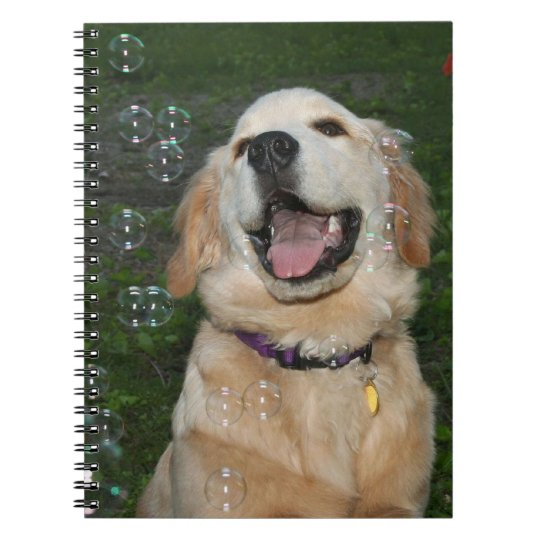 Golden Retriever Catching Bubbles Notebook