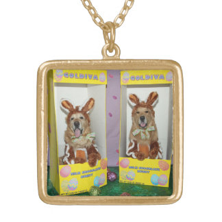 Golden Retriever Chocolate Rabbits in Boxes Gold Plated Necklace