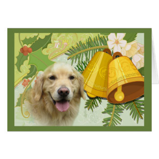 Golden Retriever  Christmas Card Bells