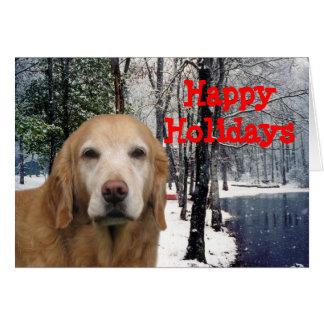 Golden Retriever Christmas Card Snow Pond