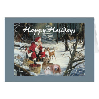 Golden Retriever  Christmas Card Woods Santa