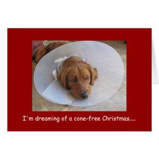 Golden Retriever Christmas Greeting Card, Cone Card