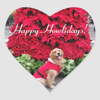 Golden retriever christmas heart sticker