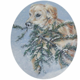 golden retriever Christmas Ornament Photo Cut Outs