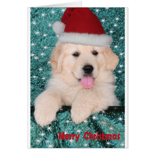 Golden Retriever Christmas Puppy Card