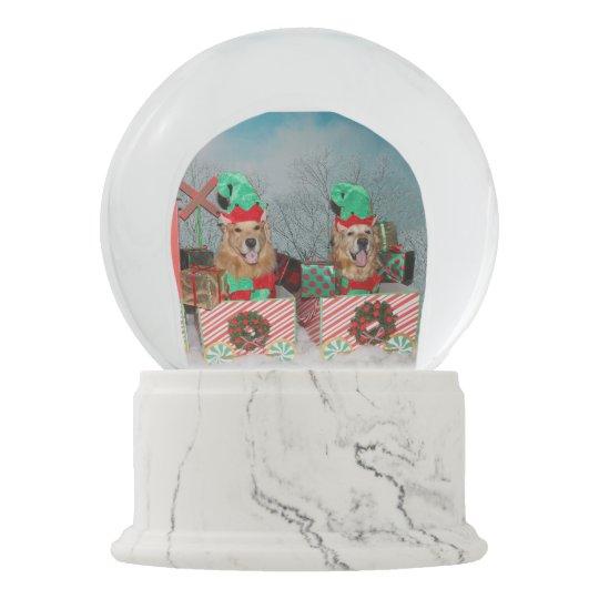 Golden Retriever Christmas Train Elves Snow Globe