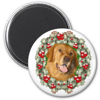 Golden Retriever Christmas wreath Magnet