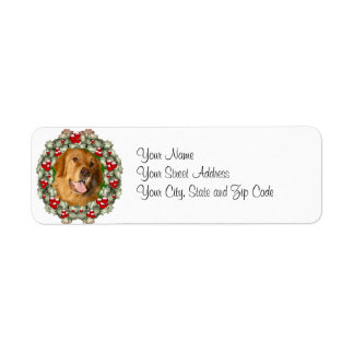 Golden Retriever Christmas wreath Return Address Label