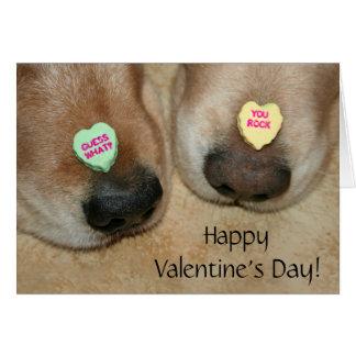 Golden Retriever Conversation Hearts Valentine's Greeting Card