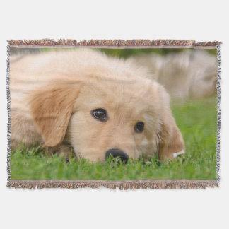 Golden Retriever Cute Dog Puppy Dreaming, soft Throw Blanket
