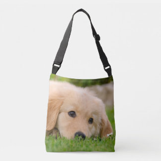 Golden Retriever Cute Puppy Dog Photo - on Crossbody Bag
