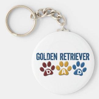 GOLDEN RETRIEVER Dad Paw Print 1 Basic Round Button Key Ring