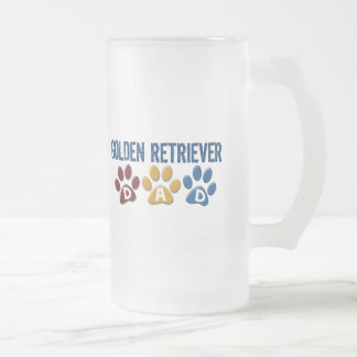 GOLDEN RETRIEVER Dad Paw Print 1 Frosted Glass Beer Mug