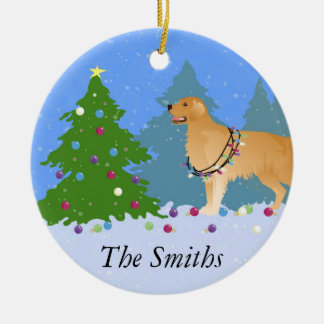 Golden Retriever Decorating Christmas Tree Christmas Ornament