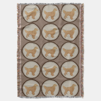Golden Retriever Dog Badge Pattern Throw Blanket