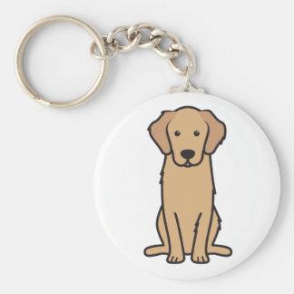 Golden Retriever Dog Cartoon Basic Round Button Key Ring