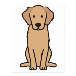 Golden Retriever Dog Cartoon Postcard