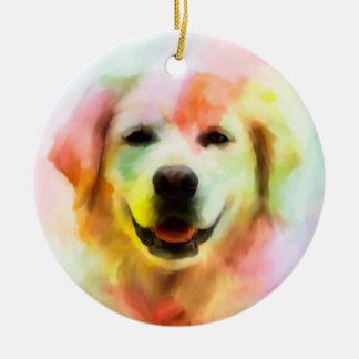 Golden Retriever Dog Colorful Watercolor Art Christmas Ornament