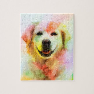 Golden Retriever Dog Colorful Watercolor Art Jigsaw Puzzle