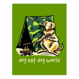 Golden Retriever Dog Eat Dog Postcard
