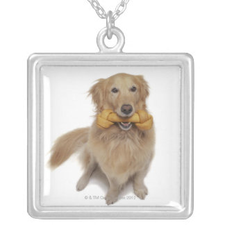 Golden Retriever Dog holding bone in mouth Silver Plated Necklace