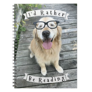 Golden Retriever Dog I'd Rather Be Reading Notebook