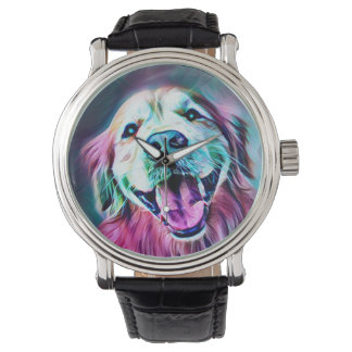 Golden Retriever Dog in Neon Colors Watch