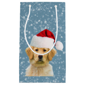 Golden Retriever Dog in Santa Hat Small Gift Bag