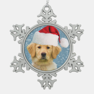 Golden Retriever Dog in Santa Hat Snowflake Pewter Christmas Ornament