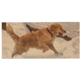Golden Retriever Dog in the Snow Wood USB 2.0 Flash Drive