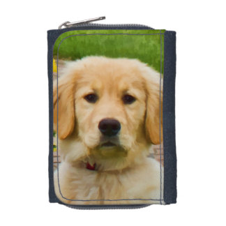 Golden Retriever Dog in the Snow Wallets
