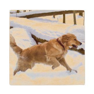 Golden Retriever Dog in the Snow Wood Coaster