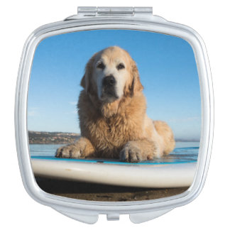 Golden Retriever Dog  Laying On A Paddle Board Vanity Mirror