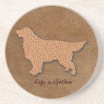Golden Retriever Dog Life is Golden Sandstone Coaster