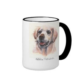 Golden Retriever Dog Painted in Watercolour Ringer Mug