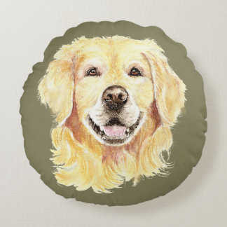 Golden Retriever Dog Pet Animal Art Round Cushion