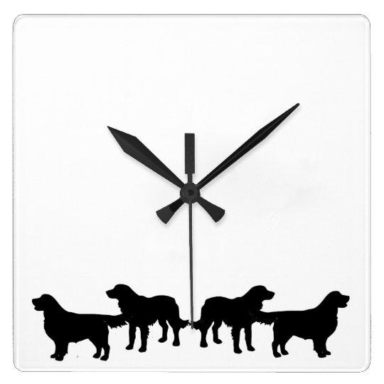 Golden Retriever Dog Pet Animals Square Wall Clock